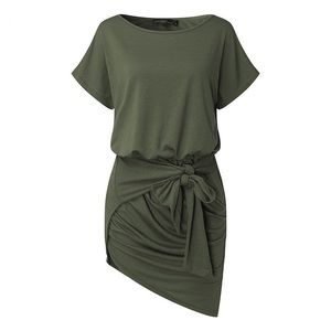 M-3X Casual Tie Front Mini Dress - Green